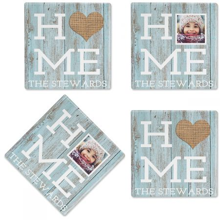 Rustic Home Personalized Photo Coasters