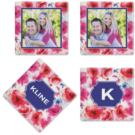 Watercolor Floral Personalized Photo Coasters A bold watercolor floral becomes a personal work of art when your photo, name, and initial are incorporated into the design. Sure to inspire warm reviews at your next gathering or gift-giving event. Personalized Ceramic Measures 4  square Wipe clean with damp cloth Absorbent scratch-resistant furniture protection: Includes permanent-sticky-back cork squares to attach to coasters before use Set of 4: Different photo on 2 coasters Initial on the third, family name on the fourth. Customized in the USA: Upload 1 photo. Specify family name up to 8 characters and 1 initial.