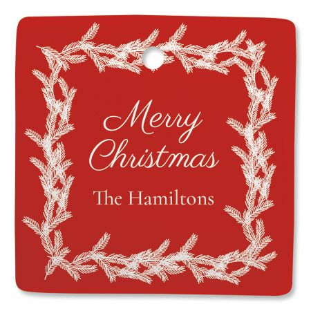 Red Wreath Personalized Square Ornament