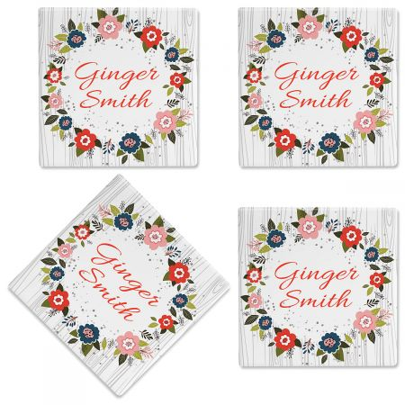 Floral Wreath Personalized Ceramic Coasters