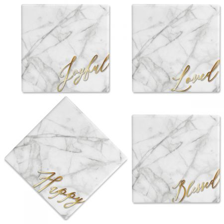 Faux Marble Ceramic Coasters Absolutely dazzling. Gleaming gold captions on a faux marble background upgrade simple coasters to simply elegant. A must-have entertaining basic and just-perfect gift, stunning personalized coasters provide years of absorbent scratch-resistant furniture protection. Set of 4 Ceramic Measures 4  square Wipe clean with damp cloth Comes with permanent-sticky-back cork squares; attach to coaster bottoms before use.