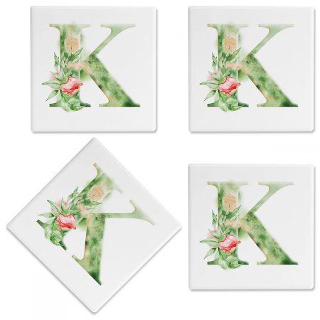 Watercolor Initial Personalized Ceramic Coasters
