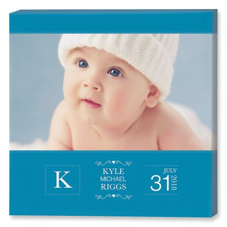 Baby Picture Blue Photo Canvas - 12x12