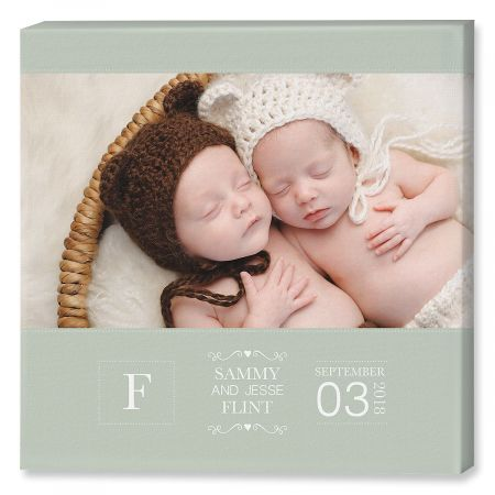 Baby Picture Green Photo Canvas - 12x12