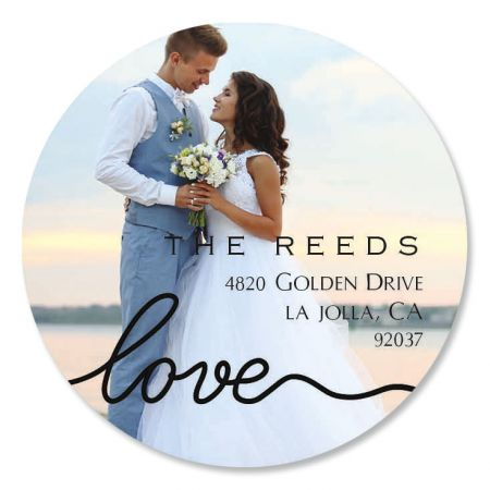 Love Black Caption Round Photo Personalized Address Labels