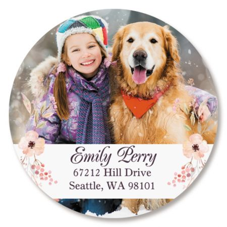 Floral Round Photo Personalized Address Labels