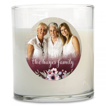 Watercolor Personalized Photo Candle