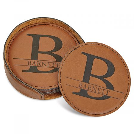 Initial and Family Name Personalized Coaster Set