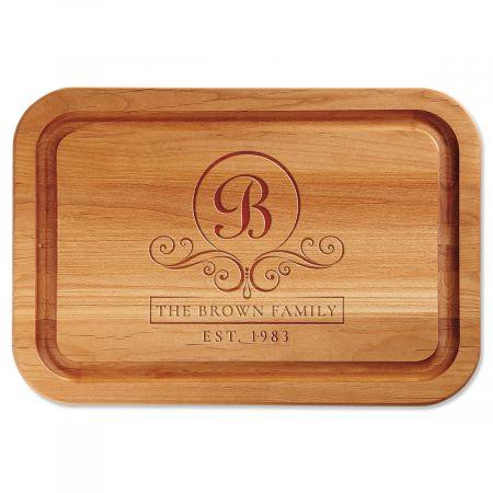 Flourish Scroll Engraved Wood Cutting Board