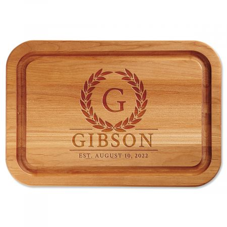 Laurel Wreath Engraved Wood Cutting Board