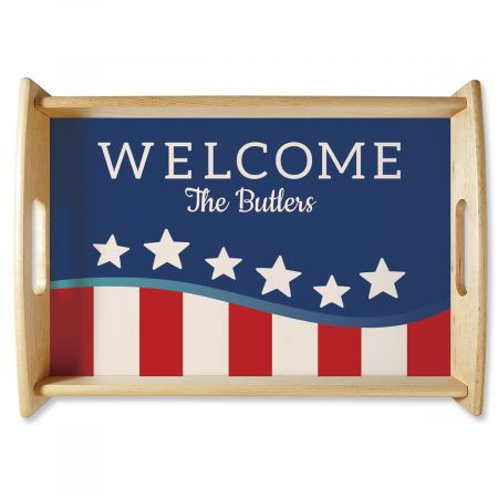 Patriotic Natural Wood Personalized Serving Tray