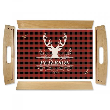 Buffalo Plaid Natural Wood Personalized Serving Tray