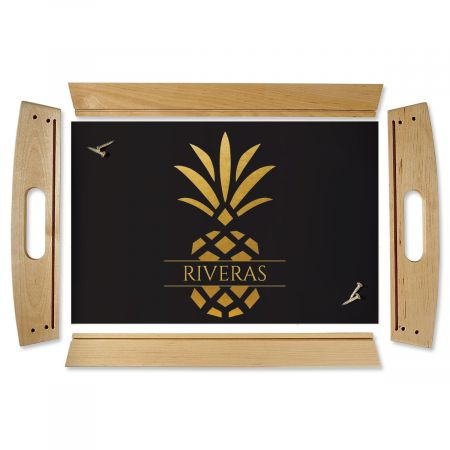 Pineapple Family Name Natural Wood Personalized Serving Tray
