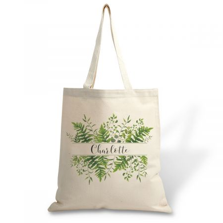 Personalized Family Greenery Canvas Tote
