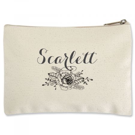 Personalized Floral Name Zippered Pouch - Small Whether stowing cosmetics and jewelry or electronic cords and accessories, pretty practical pouch is the perfect solution. And, it's so handy, you'll want more than one. Sturdy, eco-friendly natural cotton canvas Measures 6 x 9 W Nylon zippered top Great for storing, sorting, and on-the-go Spot clean Customized with name: Specify up to 12 characters