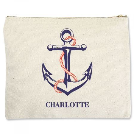 Personalized Anchor Zippered Pouch - Large Seafarers, cruise guests, landlubbers, too, all love the versatility of this pouch. Stow maps, brochures, and journals, organize cosmetics, make-up, and medications, sort jewelry, scarves, and hair accessoriesyou'll find hundreds or usesand you'll want more than one. Sturdy, eco-friendly 100% natural cotton canvas Brass zipper closure A generous 10 1/2 x 11  Dry clean only Customized in the USA: Specify up to 12 UPPERCASE characters.