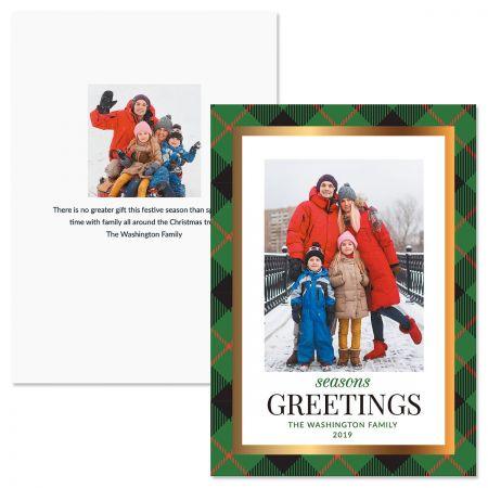 Green Buffalo Check Personalized Photo Christmas Cards