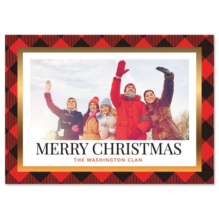 Red Buffalo Check Personalized Horizontal Photo Christmas Cards