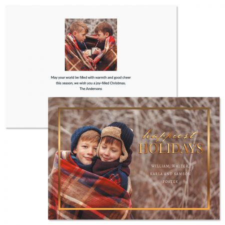 Gold Frame Personalized Photo Christmas Cards