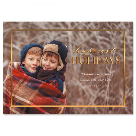 Gold Frame Horizontal Personalized Photo Christmas Cards