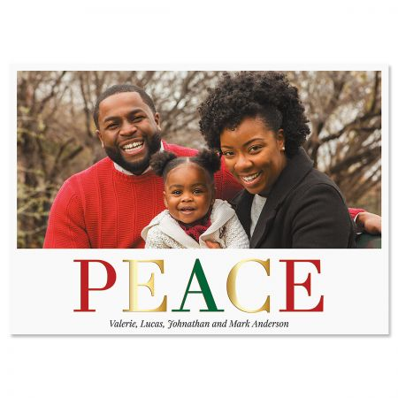 Peace Horizontal Personalized Photo Christmas Cards