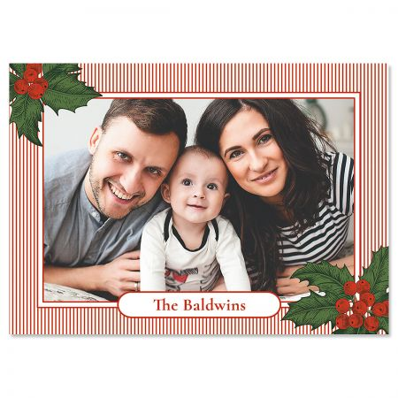 Pinstripe Personalized Photo Christmas Cards