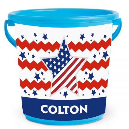 Patriotic Kids Personalized Beach Bucket