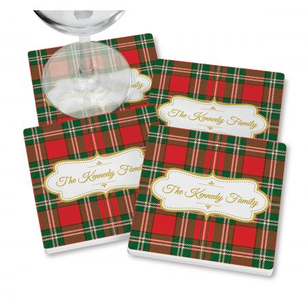 Green-Red Tartan Plaid Coasters with wine glass