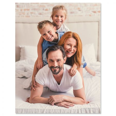 Vertical Full Photo Note Cards Put a face to the name. Timeless style combined with the photo you choose. Folded cards Blank inside Size is 4 1/4 x 5 1/2 Comes with envelopes Upload your own photo Set of 24