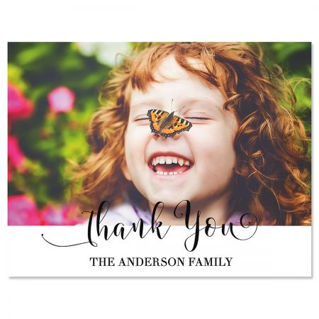 Horizontal Cheerful Thank You Photo Note Cards