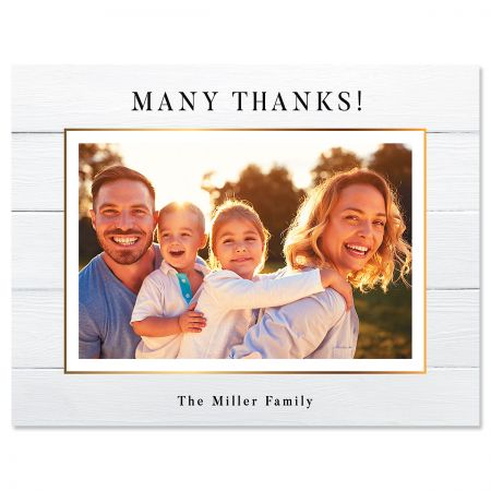 Horizontal Shiplap Thank You Photo Note Cards Put a face to the name. Timeless style combined with the photo you choose. Folded cards Blank inside Size is 4 1/4 x 5 1/2 Comes with envelopes Upload your own photo Set of 24