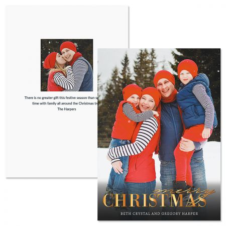 Personalized Christmas Cards.Gold Merry Personalized Photo Christmas Cards