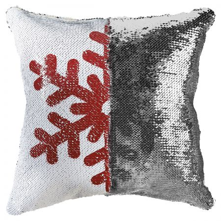 Sequined Holiday Snowflake Pillow half