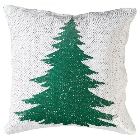 Sequined Holiday Tree Pillow