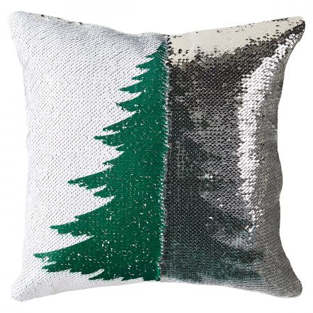 Sequined Holiday Tree Pillow half