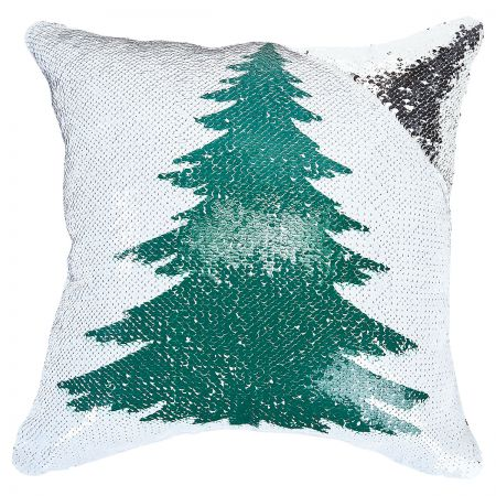 Sequined Holiday Tree Pillow corner