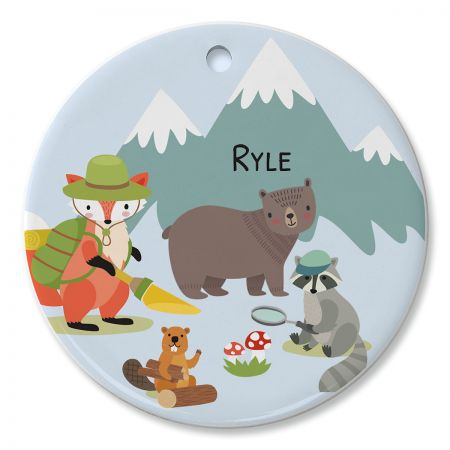 Round Personalized Woodland Animals Ceramic Ornament