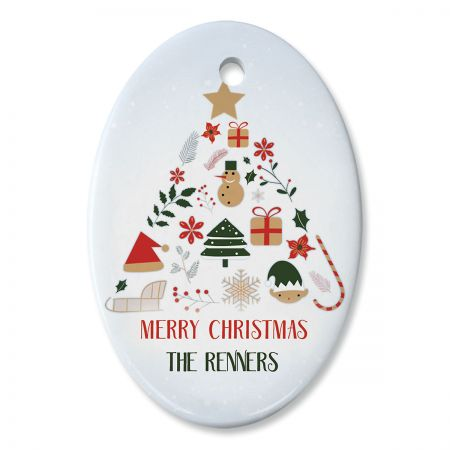 Oval Personalized Christmas Tree Ceramic Ornament