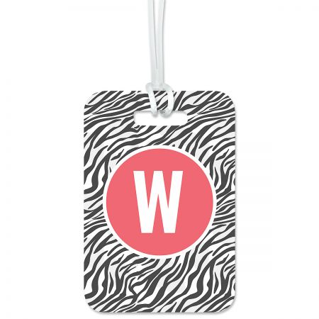 Zebra Print Personalized Luggage Tag Keep track of backpacks, suitcases and sports bags. 2 3/4 x 4  plus strap. Specify 1 initial, 1 line up to 16 characters and 3 lines up to 17 characters.