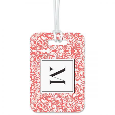 Rose Damask Personalized Luggage Tag Keep track of backpacks, suitcases and sports bags. 2 3/4 x 4  plus strap. Specify 1 initial, 1 line up to 19 characters and 2 lines up to 28 characters.