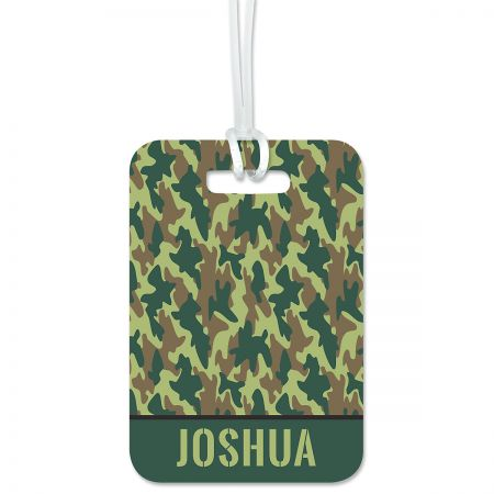 Green Camo Personalized Luggage Tag Keep track of backpacks, suitcases and sports bags. 2 3/4 x 4  plus strap. Specify line 1 up to 10 characters, line 2 up to 16 characters, and lines 3-4 up to 28 characters each.
