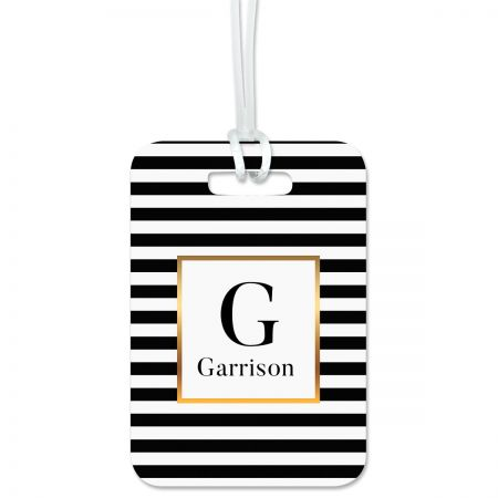 Striped with Gold Personalized Luggage Tag Keep track of backpacks, suitcases and sports bags. 2 3/4 x 4  plus strap. Specify 1 initial, line 1 up to 8 characters, line 2 up to 20 characters, and lines 3-4 up to 26 characters each.