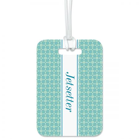 Jetsetter Personalized Luggage Tag Keep track of backpacks, suitcases and sports bags. 2 3/4 x 4  plus strap. Specify 1 line up to 23 characters and 2 lines up to 35 characters each.