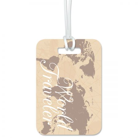 World Traveler Personalized Luggage Tag Keep track of backpacks, suitcases and sports bags. 2 3/4 x 4  plus strap. Specify 1 line up to 18 characters and 2 lines up to 28 characters each.