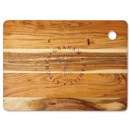Acacia Family Stamp Engraved Large Cutting Board
