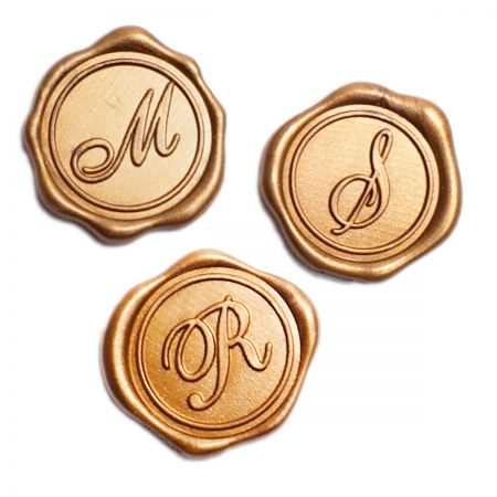 Initial Adhesive Wax Seal Stickers - Gold