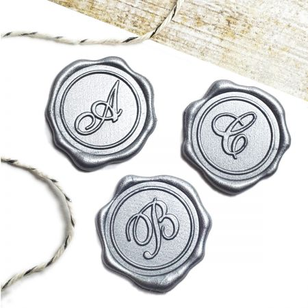 Initial Adhesive Wax Seal Stickers - Metallic Silver