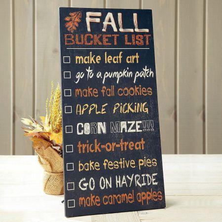 Fall Bucket List Wooden Plaque