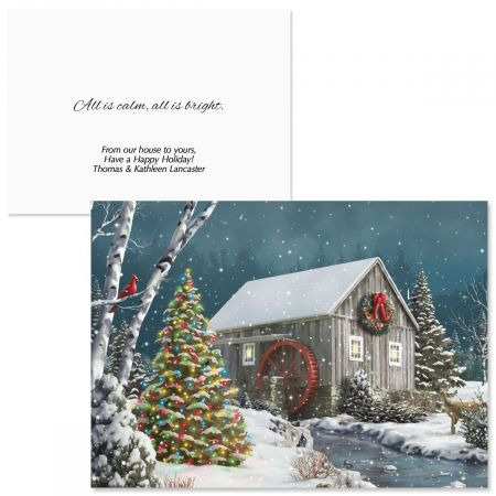 Falling Snow Personalized Christmas Cards - Set of 18