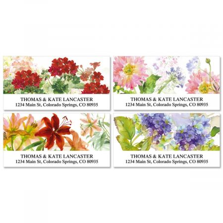 Watercolor Flowers Deluxe Address Labels  (4 Designs)